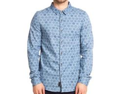 Freshjive Men's Stamped L/Sleeve Shirt - Denim