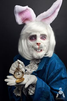 The White Rabbit - Alice In Wonderland by Amanda Chapman   She used cotton & liquid latex for the fur application and a rabbit prosthetic nose piece from Walmart. The white wig is from Spirit and the clothing from the thrift store.