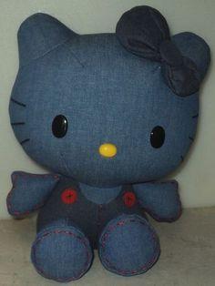 Hello Kitty Blue Denim 2010 Sanrio Plush Stuffed Animal Jakks Kittie Cat ~ This Item is for sale at LB General Store stores.ebay.com/... ~Free Domestic Shipping ~