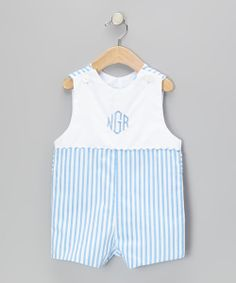 These shortalls have a colorful print and buttoned straps that are crawling with sweetness. Its personalized embroidery dresses it up for boys who have places to be and people to see.