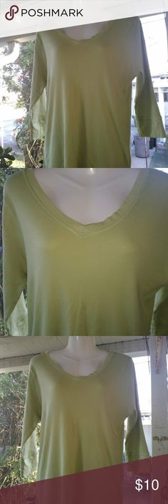 Nautica ladies top 3 quarter inch sleeve, v neck lime green large top, in nice condition, any questions please feel free to ask and thank you for stopping by my closet                ☺️ 15% off 3 purchased items               ☺️. Happy Poshing Nautica Tops Tees - Long Sleeve