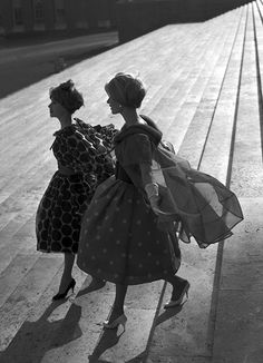 Valentino dresses photographed by Federico Garolla in Rome, 1958.