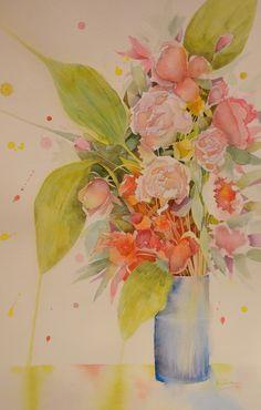 50 x 70 cm. Three Roses, Neko, Watercolors, Paper, Painting, Water Colors, Flowers, Painting Art, Watercolor Paintings