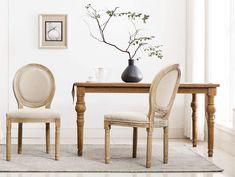 Chairus French Dining Chairs, Distressed Elegant Tufted Kitchen Chairs with Carving Wood Legs and Round Back - Set of 2 - Beige