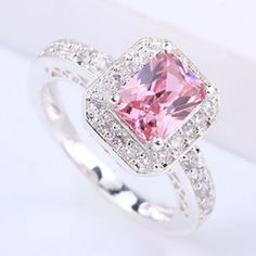 Online Shopping Special Design Women Silver Ring 6X8Mm Oblong Pink Cubic Zirconia J7443 Yin Gift For Lovers Size 6 7.42 | m.dhgate.com
