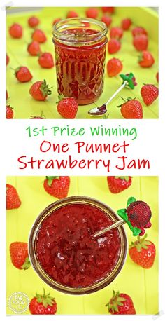 This Quick One Punnet Strawberry Jam (1st prize winning) is super quick Baker Recipes, Vegan Recipes Easy, Kitchen Recipes, Real Food Recipes, Cooking Recipes, Easy Desserts, Delicious Desserts, Dessert Recipes, Dinner Recipes