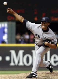 New York Yankees closing pitcher Mariano Rivera throws in the 9th inning of a baseball game against the Seattle Mariners, Sunday, June 9, 2013, in Seattle. Rivera earned a save and the Yankees defeated the Mariners 2-1. (AP Photo/Ted S. Warren)