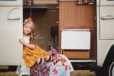 VW Camper family portraits, Volkswagen camper, camping family session, camping props, fun camping pics, Holly Davis photography \ The Woodlands, TX