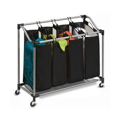 Honey-Can-Do Quad Laundry Sorter with Mesh Bags, - The Home Depot Laundry Sorting, Doing Laundry, Small Laundry, Quad, Laundry Room Storage, Laundry Hamper, Laundry Rooms, Laundry Organizer, Laundry Cart