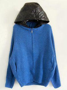 Blue Hooded Bat Sleeve Sweater$45.00
