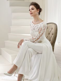 The Victoria Jane Collection showcases contemporary couture wedding dresses with style and elegance. Contact Anya Bridal Couture today to book an appointment to find your perfect wedding dress.Lea A unique tulle, crepe and jersey trouser suit with la Bridal Pants, Wedding Jumpsuit, Bridal Dresses, Bridal Pant Suits, Dresses To Wear To A Wedding, Elegant Wedding Dress, Wedding Pantsuit, Wedding Gowns, Wedding Reception