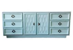 Vintage credenza, buffet painted in the Country Chic Icicle blue hue.  Absolutely stunning!!!   $3299.00 See this and more at https://www.onekingslane.com/product/56581/4002196?vendor=5937