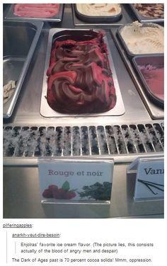 Enjolras' favorite ice cream flavor...mmm, oppresion. XD