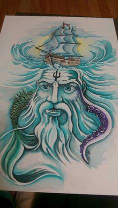 Poseidon, god of the water Poseidon, Gods And Goddesses, Drawings, Water, Art, Pictures, Embroidery, Table, Gripe Water