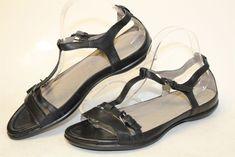 b020b10727f1 ECCO MISMATCH Womens L 41  R 42 Flash NEW Black Leather T-Strap Sandals