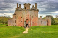 Cearlaverock Castle, Scotland  Not elaborate, but there is something intriguing about the really ancient.