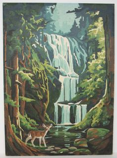 Water Fall Paint By Number Oil Painting by FindingMaineVintage, $22.00