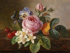 Painting by Johan Laurentz Jensen, Blumenstück mit Rosen, oil on canvas.