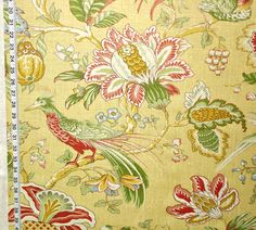 Schumacher fabric Bird of Paradise Indienne gold from Brick House Fabric: Novelty Fabric