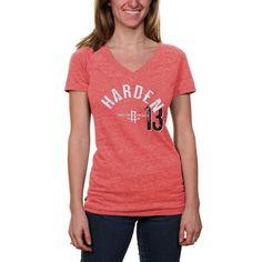 James Harden Houston Rockets Women's Name & Number Tri-Blend V-Neck T-Shirt - Red - $26.99