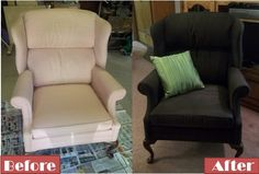 One of our Facebook friends shared this upholstery chair makeover. She was nervous to spray paint her fabric but she loved the results!