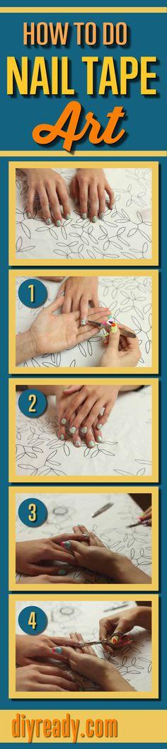 Nail Tape Art   Nail Designs and Nail Art Ideas http://diyready.com/cute-nail-designs-easy-nail-tape-art/