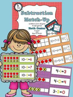 Subtraction Match-Up: A Ten Frame Math Center $