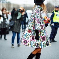 In full bloom:  swing coat with floral motif ...  (photo from beforeeesunrise)