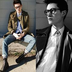 Around The Collar Bolo Tie, Vintage Boots, Canvas Trenchcoat #ManStyle