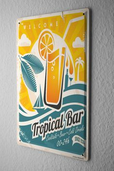 Tin Sign Soda Soft Drink Tropical bar cocktails
