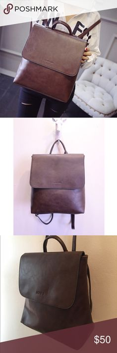 Brown faux leather backpack Brand new. It is very nice and can fit school notebook and much more. Bags Backpacks