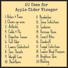 Apple Cider Vinegar Uses ACV Cleanse  ■2 tablespoons Organic Apple Cider Vinegar  ■1 teaspoon Honey  ■½  cup warm water   Try to drink this first thing in the morning and wait at least 30 minutes before you eat a meal. by lucinda