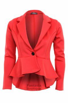 New Ladies Long Sleeve Frill Shift Fitted Low Back Blazer Women's Jacket | eBay