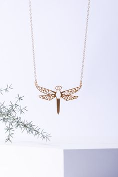 MIZYAN's gold plated geometric dragonfly by HananMass on Etsy