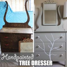 Handpainted Tree Dresser by Of Houses and Trees | Before and after of a DIY furniture refinishing project featuring a dresser with a handpainted tree. Click through to read more on this project as well as posts about architecture, interior design and sustainability at www.ofhousesandtrees.com.