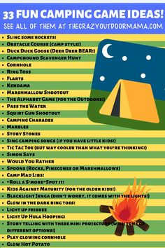If you want to make your next camping trip with the kids more fun, check out these 33 camping game ideas! There's something for every age level – toddlers to teenagers! Even better, you can check out physical based games and just relaxed campfire games! Fun Camp Games, Family Camping Games, Campfire Games, Camping Activities For Kids, Camping Theme, Camping Crafts, Camping With Kids, Camping Hacks, Games For Kids