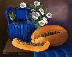"Fine Art ""Papaya""  Oil painting 18""x 12"". Price Reduced!!!"