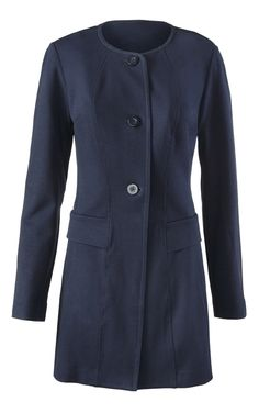 Discover cabi's Lido Jacket, a classic navy jacket with a longer length and back seaming to elongate your figure.