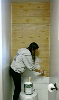I like the idea of faux shiplap, especially behind the toilet! White shiplap in bathroom | DIY Shiplap Tutorials | Paint plywood planks white to make fake shiplap | Cheap and easy ship lap with fixer upper design style | Bring out your inner Joanna Gaines