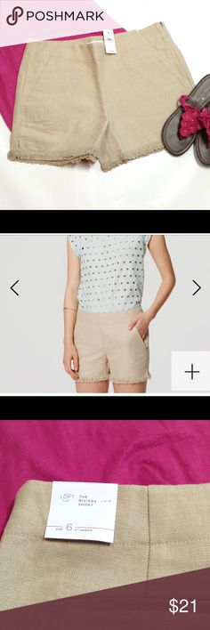 """🆕 LOFT fringed shorts Sandstorm color tailored shorts in pure cotton/line . ( you always tell if it's the company description or if it's my own!! 😂 ) Front slash pockets. Side zipper. Side slits. Size 6 - 16"""" across waist, 10"""" rise Size 8 - 18"""" across waist, 10.5"""" rise They were both too big for me to try to model, and I wear a 6 in lots of things... LOFT Shorts"""