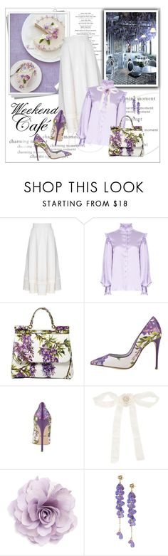 """""""Weekend Cafe ~purple flower cake~ (Untitled #90)"""" by erihiro ❤ liked on Polyvore featuring FLOW the Label, Dolce&Gabbana, Martha Medeiros and Cara"""
