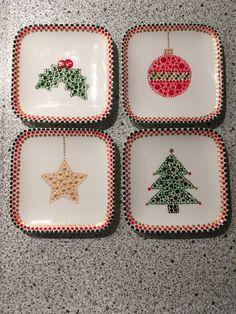Porcelain And China Marks Dot Art Painting, Mandala Painting, China Painting, Ceramic Painting, Pottery Painting Designs, Pottery Designs, Paint Designs, Christmas Drawing, Christmas Art