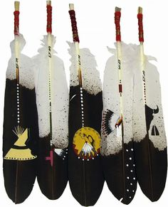 Native American Hand Painted Feathers: Evans Flammond, Sr. is an enrolled member of the Rosebud Sioux/ #Lakota Reservation of South Dakota and actively preserves his native culture and heritage in his exceptional artwork. #PrairieEdge