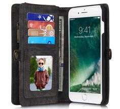 CaseMe 008 iPhone 7 Plus Zipper Wallet Detachable 2 in 1 Retro Flannelette Leather Folio Case Black