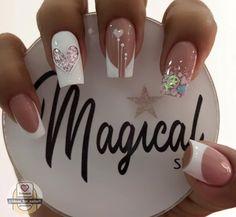 Disney Acrylic Nails, Best Acrylic Nails, Simple Nail Art Designs, Short Nail Designs, Sculpted Nails, Valentine Nail Art, Gold Glitter Nails, Bride Nails, Nail Candy