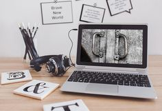 Workspace with Laptop Mockup