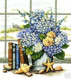 Dimensions Counted #crossstitch  Hydrangeas and Shells #DIY #crafts #decor #needlework #crossstitching