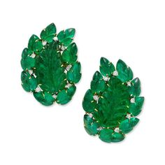 A Pair of Carved Emerald and Diamond Ear Clips, by Bulgari, circa 1955 - Ruby And Diamond Necklace, Diamond Earing, Emerald Diamond, Diamond Jewelry, Bulgari Jewelry, Bvlgari Necklace, Jewellery, Vintage Earrings, Vintage Jewelry