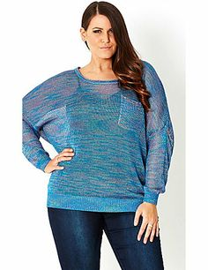 This playful pullover will be a fun addition to your CC wardrobe. Boasting a delicate, multi-colored knit, our Metallic Blues Jumper features a scoop neckline, full length sleeves, single chest pocket and ribbed trim. This batwing style is a relaxed fit. sonsi.com