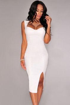 Key-Hole Back Faux Leather Padded White Midi Dress